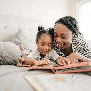 Mom reading for toddler